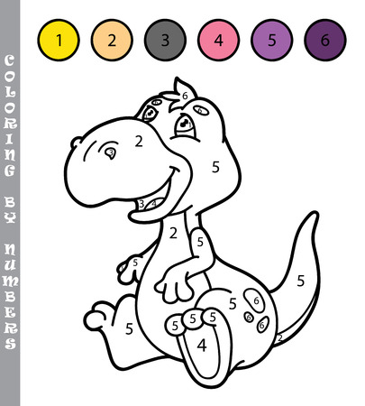 number cartoon: funny coloring by numbers game. Vector illustration coloring by numbers game with cartoon  dino for kids Illustration