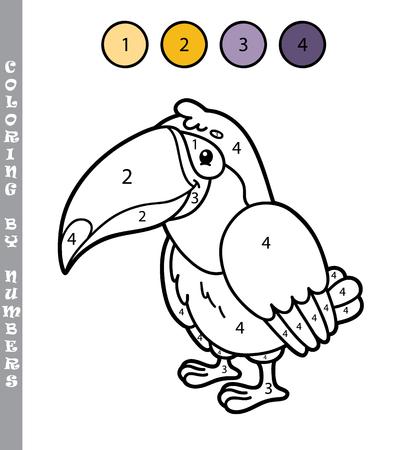 숫자 게임에 의해 재미있는 색칠. 벡터 일러스트 레이 션 숫자 게임으로 만화 tukan 아이들을위한 색칠 공부