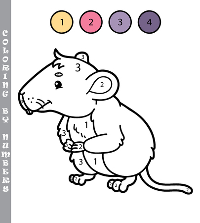 vole: funny coloring by numbers game. Vector illustration coloring by numbers game with cartoon  vole for kids