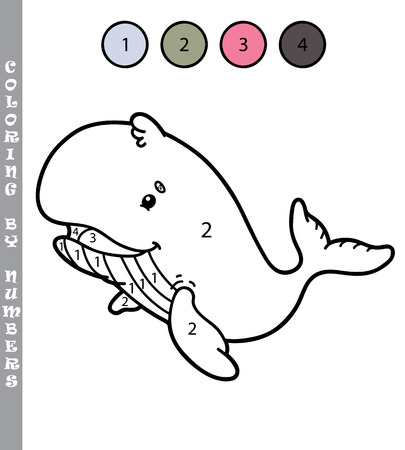 chubby cartoon: funny coloring by numbers game. Vector illustration coloring by numbers game with cartoon  whale for kids