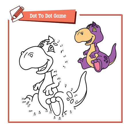 dot to dot dino game. Vector illustration of dot to dot puzzle with happy cartoon dino for children