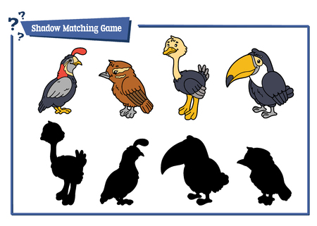 funny birds shadow  game. Vector illustration of shadow matching game with  cartoon birds for children