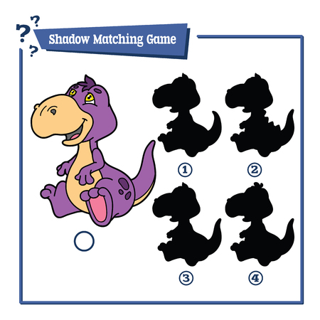 funny dino shadow  game. Vector illustration of shadow matching game with  cartoon dinosaur  for children Ilustrace