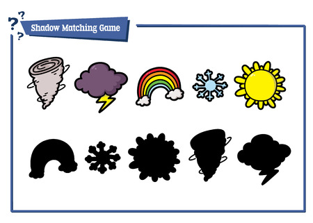 funny shadow weather game. Vector illustration of shadow matching game with cartoon weather icons for children