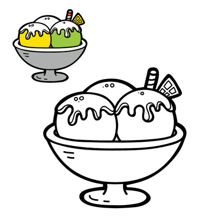 scrap book: funny simple coloring page. Vector illustration coloring page of cartoon  ice cream for children, coloring and scrap book