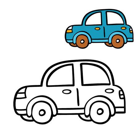 hand cartoon: funny simple coloring page. Vector illustration coloring page of cartoon car for children, coloring and scrap book Illustration