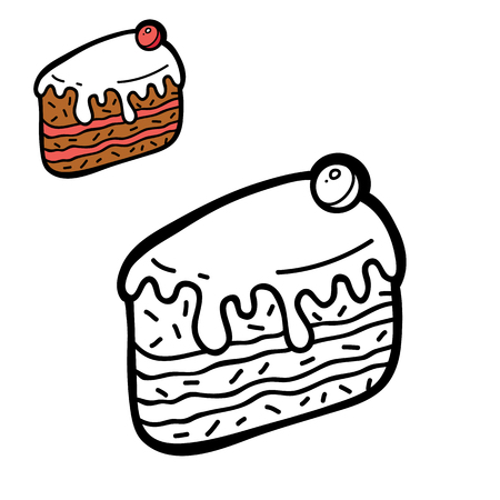 funny simple coloring page. Vector illustration coloring page of cartoon  cake for children, coloring and scrap book Illustration