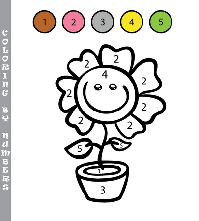 numbers: funny coloring by numbers game. Vector illustration coloring by numbers game with cartoon flower for kids