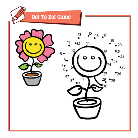 activity cartoon: dot to dot  flower game. Vector illustration of dot to dot puzzle with happy cartoon flower for children
