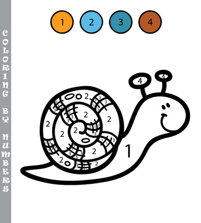 cartoon snail: funny coloring by numbers game. Vector illustration coloring by numbers game with cartoon usnail for kids