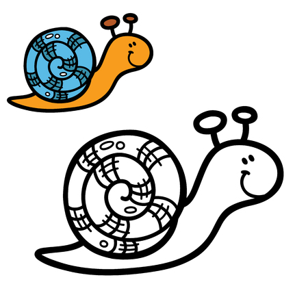 scrap book: funny simple coloring page. Vector illustration coloring page of cartoon snail for children, coloring and scrap book Illustration