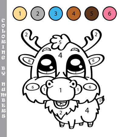 chubby cartoon: funny coloring by numbers game. Vector illustration coloring by numbers game with cartoon deer for kids