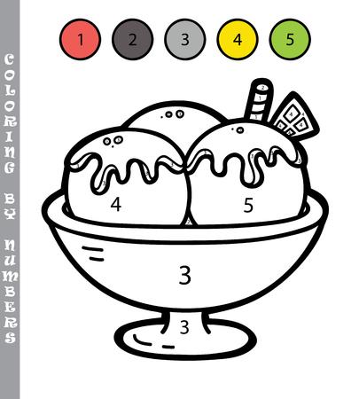 숫자 게임에 의해 재미있는 색칠. 벡터 일러스트 레이 션 숫자 게임 만화 아이스크림 아이들을위한 색칠 공부