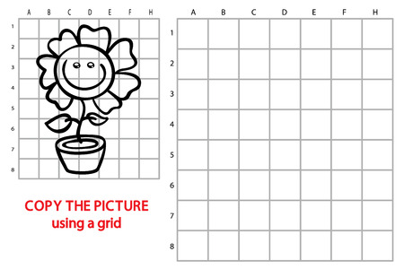 brainteaser: funny flower game. Vector illustration of grid copy puzzle with happy cartoon flower for children Illustration