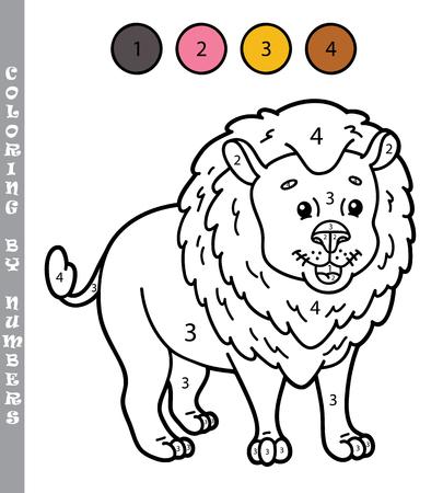lijntekening: grappig kleuren door nummers spel. Vector illustratie kleuren door nummers spel met cartoon leeuw voor kinderen Stock Illustratie