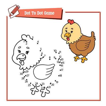 activity cartoon: dot to dot hen game. Vector illustration of dot to dot puzzle with happy cartoon hen for children