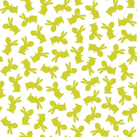baby hand: funny bunny Easter pattern. Vector seamless doodle easter pattern with Easter bunnies