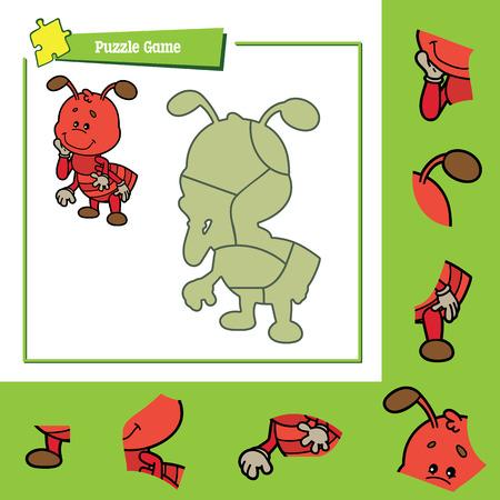 hormiga caricatura: lindo juego de puzzle. Ilustración del vector del juego de puzzle con la hormiga feliz de dibujos animados para los niños