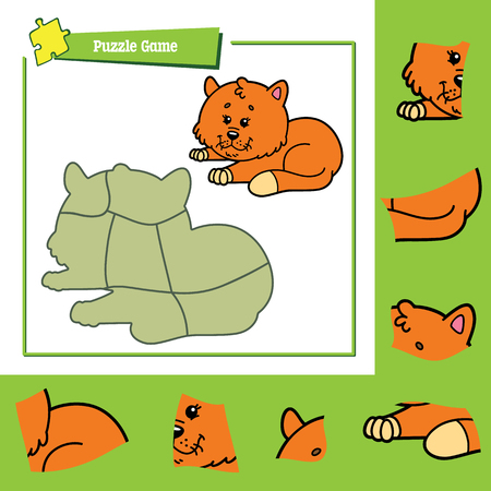 activity cartoon: cute puzzle game. Vector illustration of puzzle game with happy cartoon cat for children Illustration