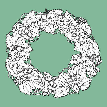 viburnum: Cute viburnum wreath. Vector hand drawn illustration of cute viburnum wreath for children or for adult anti stress coloring book, invitation card Illustration