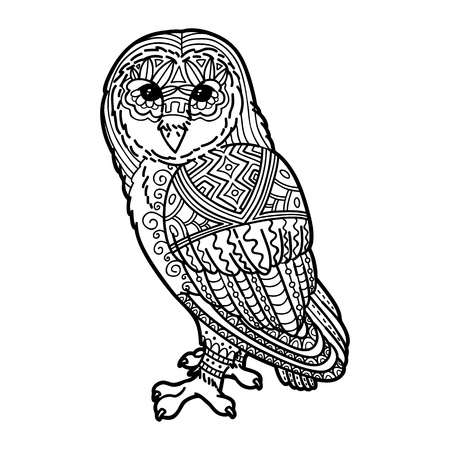 Cute owl. Vector illustration of cute ornate zentangle owl for children or for adult anti stress coloring book
