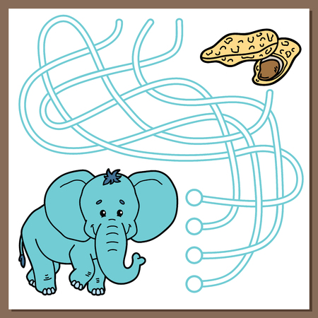 chubby cartoon: Cute elephant game. Vector illustration of maze (labyrinth) game with cute cartoon elephant for children