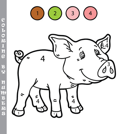 Vektor-Illustration Färbung Von Zahlen Bildungs-Spiel Mit Cartoon ...
