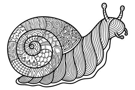 giardino lumaca carino. illustrazione vettoriale di carino lumaca di giardino ornato per bambini o per adulti libro da colorare contro lo stress Vettoriali