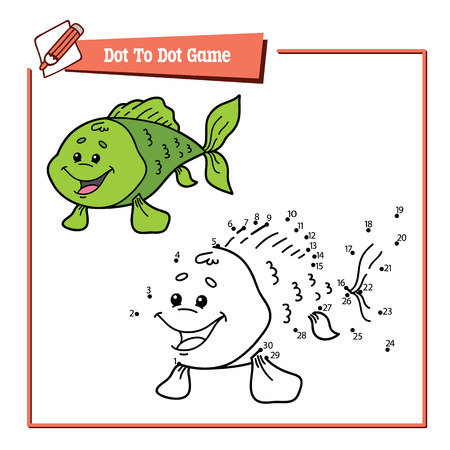 game fish: dot to dot fish game. Vector illustration educational game of dot to dot puzzle with happy cartoon fish for children Illustration