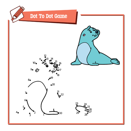 brainteaser: dot to dot seal educational game. Vector illustration educational game of dot to dot puzzle with happy cartoon seal for children