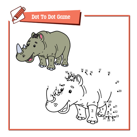 rhino vector: dot to dot rhino educational game. Vector illustration educational game of dot to dot puzzle with happy cartoon rhino for children Illustration