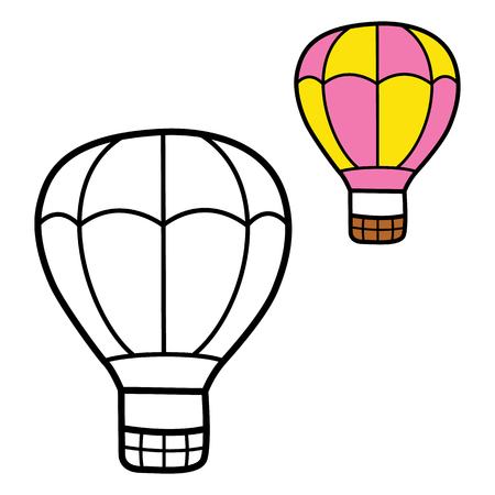 scrap book: simple educational kids coloring page. Vector illustration of educational kids coloring page of cartoon hot air balloon for children, coloring and scrap book Illustration