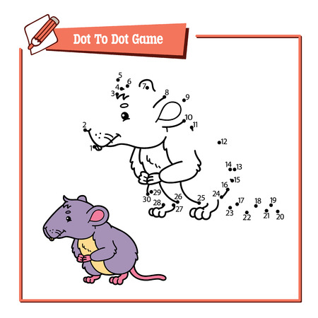 vole: dot to dot vole educational kid puzzle game. Vector illustration educational kids game of dot to dot puzzle with happy cartoon mouse for children Illustration