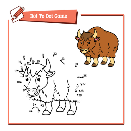 yak: dot to dot yak educational kid puzzle game. Vector illustration educational kids game of dot to dot puzzle with happy cartoon yak for children