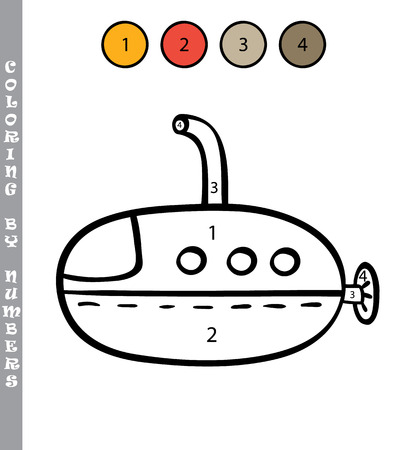 cartoon submarine: funny coloring by numbers educational kids game. Vector illustration coloring by numbers educational kids game of cartoon submarine for kids Illustration