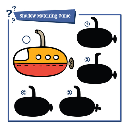 cartoon submarine: funny shadow educational kids game. Vector illustration of shadow matching educational kids game with cartoon submarine for children Illustration