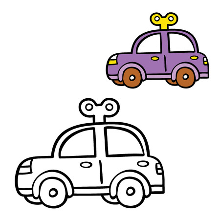 scrap book: funny simple coloring page. Vector illustration coloring page of cartoon car for children, coloring and scrap book, baby shower