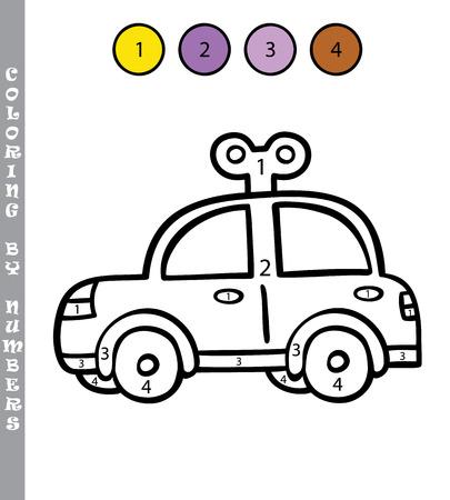 Polizeiauto. Vektor-Illustration Malvorlagen Von Comic-Streifenwagen ...