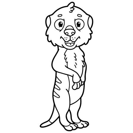 scrap book: Cute educational kids coloring page. Vector illustration of educational coloring page with cute cartoon meerkat character for children, coloring and scrap book