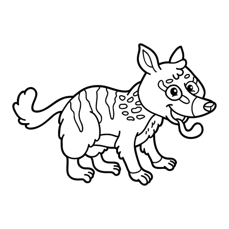scrap book: Cute educational kids coloring page. Vector illustration of educational coloring page with cute cartoon numbat character for children, coloring and scrap book