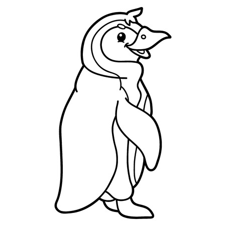 scrap book: Cute educational kids coloring page. Vector illustration of educational coloring page with cute cartoon penguin character for children, coloring and scrap book Illustration