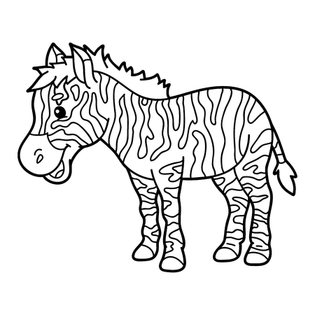 scrap book: Cute educational kids coloring page. Vector illustration of educational coloring page with cute cartoon zebra character for children, coloring and scrap book