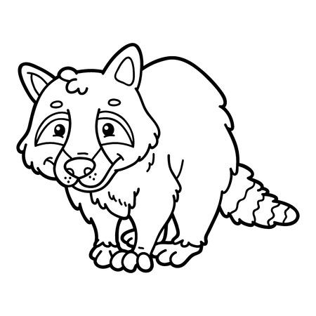 Niños Educativos Raccon Página Para Colorear De Dibujos Animados ...