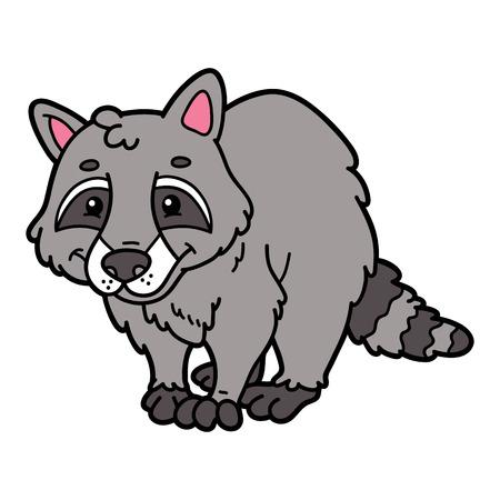 scrap book: Cute cartoon raccoon animal character. Vector illustration of cute cartoon raccoon character for children and scrap book Illustration