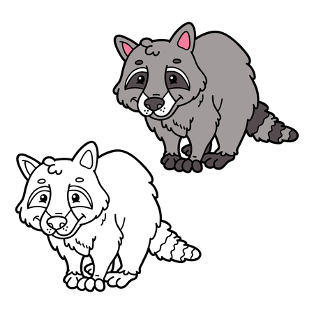scrap book: educational kids raccon cartoon coloring page. Vector educational coloring page of happy cartoon raccoon for children, coloring and scrap book