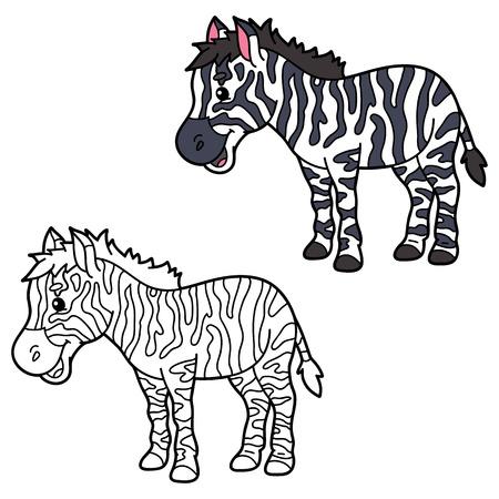 scrap book: educational kids cartoon coloring page. Vector educational coloring page of happy cartoon zebra for children, coloring and scrap book Illustration