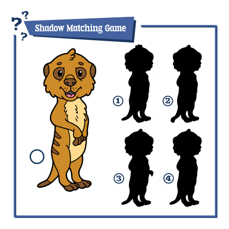meerkat: funny shadow educational kids game. Vector illustration of shadow matching educational kids game with happy cartoon meerkat for children