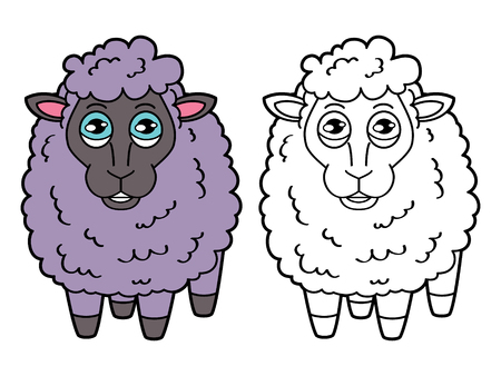 scrap book: sheep coloring page. Vector educational coloring page of happy cartoon sheep for children, coloring and scrap book Illustration