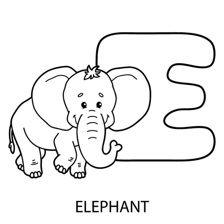 Animal Alphabet Coloring Page Vector Illustration Of Educational With Cartoon For