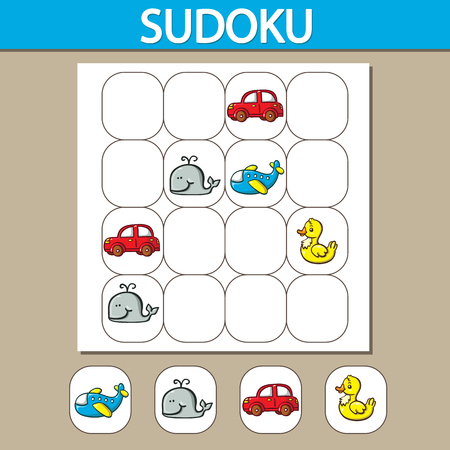 asian children: sudoku puzzle game. sudoku puzzle game with numbers. Can be used as educational game for kids Illustration